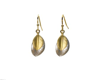 Silver and Gold Leaf Earrings, Dangle Earrings, Wedding Jewelry, Bridesmaid Jewelry, Graduation Gift