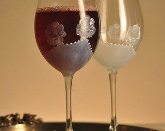 Set of 2 Hand Painted beautiful wine glasses White rose