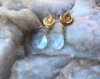 Rainbow Moonstone Earrings with 18k Gold