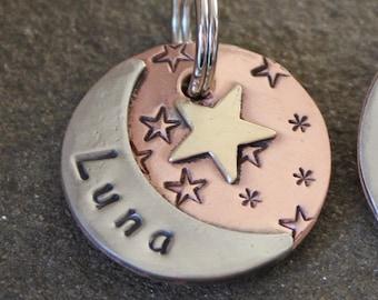 custom dog id tag- pet tag with moon and start- Luna  pet id tag