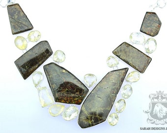 AAA Excellent Grade Genuine Canadian Ammolite Triplet  925 SOLID Sterling Silver Necklace