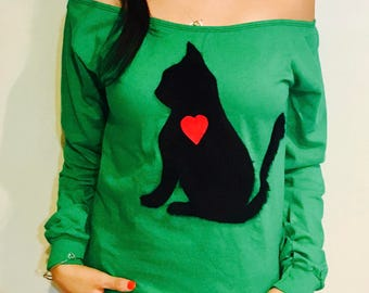 Women Long Sleeve Shirt | Cat Shirt | Valentines Day Shirt | Heart Shirt | Funny Cat Shirts | Funny Tshirts | Love Shirt | Gifts For Her