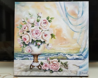 Oil Painting Palette Knife Art Abstract Roses
