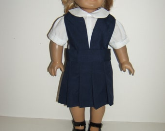 18 inch Doll Navy, Khaki  pleated Split Bib School Uniform Jumper (grey,burgundy)