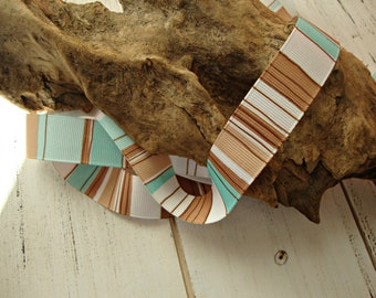 2 Yards - Robins Egg Blue Brown White Beach Stripe Grosgrain Ribbon - 7/8 Inch