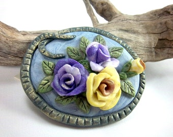 Rose Brooch,  Purple and Yellow Roses, Wearable Art, OOAK,  Realistic Art, Floral Jewelry, Polymer Clay