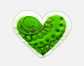 Green Ring - Handmade Ring, Heart Ring, Shrink Plastic Ring, Cute Valentine