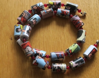 Handmade Unique Handrolled Antique Paper Beaded Necklace - Wiske in Trouble