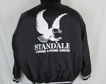Standale Lumber Men's XL Black Satin Jacket Rockabilly Bowl Eagle USA