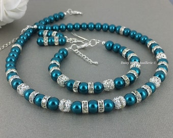 Teal Jewelry Teal Necklace Teal Bracelet Pearl Jewelry Set Bridal Gift Bridesmaid Jewelry Bridesmaid Necklace Teal Wedding