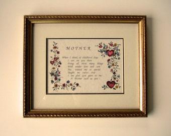 Belle mère poème des mères cadeau Unique encadré tenture aimer poème coeurs rouges des fleurs colorées oiseaux bleus cadeau original pour maman
