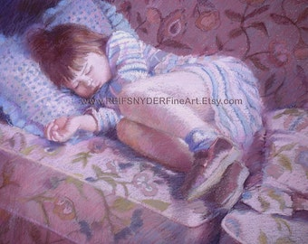 Sleeping child print, figures, girl, children, people, lavender, pink, blue, childs room, large print, 12x18, nursery art, napping, asleep