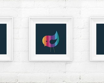 Set of 3 Little Birds Contemporary Nursery Giclee Art Prints