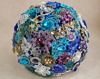 Brooch bouquet. Teal, Purple, Gold and silver wedding brooch bouquet, Jeweled Bouquet. Made upon request