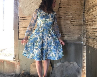 Spring dress for woman, size small/medium 60's dress, 70's dress,  blue floral dress,  boho, hippie dress, vintage dress, retro dress, blue