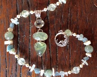CALYPSO Necklace (Prehnite, Green Amethyst, Aquamarine, Opal, Swarovski Pearls, Sterling Silver)