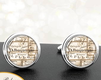 Map Cufflinks Alburquerque NM Cuff Links State of New Mexico for Groomsmen Wedding Party Fathers Dads Men