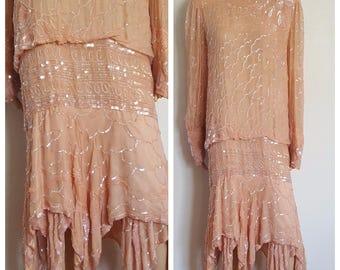 XL Peach Sequin Dress / Dropped Waist / Peach Dress /