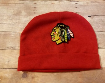 chicago blackhawks hat-chicago blackhawks beanie-blackhawks hat-chicago blackhawks gift for baby-blackhawks for baby-blackhawks baby gift