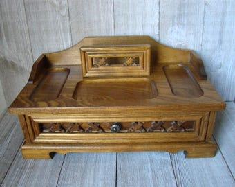 Oak Valet Box, Vintage Valet Box, Men's Jewelry Box, Dresser Box, Vintage Oak Valet, Oak Jewelry Box