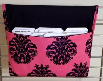 40 % off Coupon Organizer /Budget Organizer Halter - legt auf Ihre Shopping Cart - Hot Pink mit schwarzen Fleur
