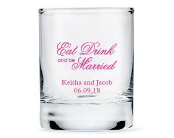 Set of 36 Eat Drink and be Married Script Style Shot Glasses - Personalized Shot Glasses - Personalized Party Glasses - Wedding Glasses