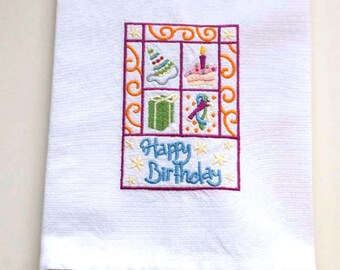 Birthday Square Embroidered Towel | Embroidered Tea Towel | Embroidered Kitchen Towel | Personalized Dish Towel | Birthday Gift | Hand Towel