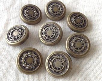 8 vintage ornate metal buttons  22mm - 2.2cm