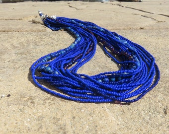 N-50 Sodalite Seed Bead Multi-strand Blue Necklace, Sodalite Necklace, Seed Bead Necklace, Multistrand Necklace