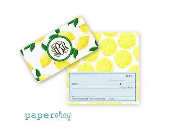 Checkbook Cover, Monogrammed Checkbook Cover, Personalized Checkbook Cover, Custom Checkbook Cover, Vinyl Checkbook Cover, Lemons
