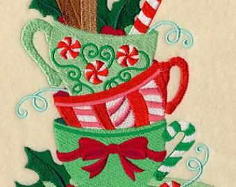 Christmas Teacup Teatime Stack Embroidered Flour Sack Hand/DIsh Towel