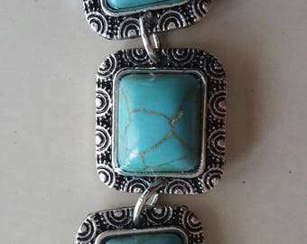 1 connector in silver and turquoise 6 cm