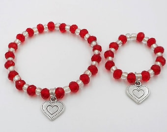 Valentines Day red beaded charm bracelets Little girl and 18' doll matching bracelets heart