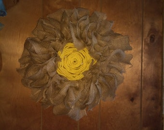 natural burlap with yellow center flower wreath