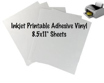 "1 Sheet Inkjet Printable Adhesive Vinyl 8.5x11"" Sheet Indoor Outdoor Permanent Adhesive Vinyl Print Your Own Vinyl Designs Printed Vinyl"