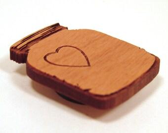 Mason Jar Wooden Magnets - Set of 4