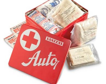 Vintage First Aid Kit / Gift for Doctor / Collectible from the Cold War / Medical First Aid Tin Full