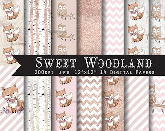 SALE Sweet Woodland Digital Scrapbook Papers -Forest animals,fox, owl,  INSTANT DOWNLOAD