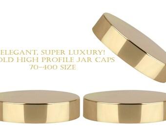 20pcs 70/400 Shiny GOLD Tall HIGH PROFILE Jar Caps, Aluminum Lids for 2 Oz & and 4 Oz Cream Jars 60ml, 120ml - Foam Lined Upscale Packaging
