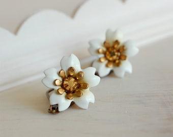 cherry blossom earrings, sakura jewelry, enamel flower earrings, white flower dangles