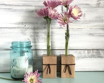 Test Tube Flower vase, bud vase, Set of Two, small gift, rustic decor, wood and leather