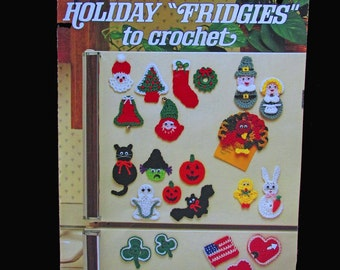 Crochet, Crochet Patterns, How to crochet, Leisure Arts Holiday Fridgies to Crochet Leaflet 328