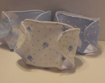 12 in Corolle Diapers - Sheep, Blue Flowers, Clouds