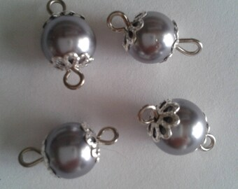 5 connectors 8mm gray glass pearl beads