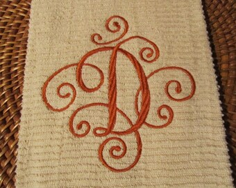 Elegant Scroll Monogram - Whim - Wave (Oatmeal) - Cotton 20x30 Designer Kitchen Hand Towel