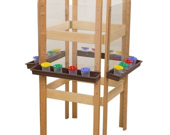 Classroom Easel, 4-Sided Adjustable Kid's Art Easel with Acrylic Art Surface and Brown Trays