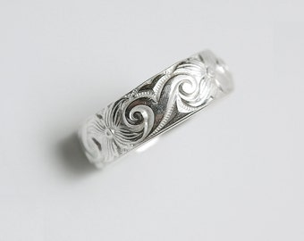 Wide Silver Band Ring Engravable