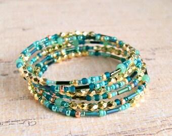 beaded bracelet, boho jewelry, wrap bracelet, gold jewelry, gift for her, under 15