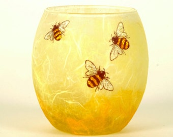 Bee candle holder -honey colours - warm glow with delicate glittery bees on honey and cream natural colours -  by Karen Keir Strawsilk