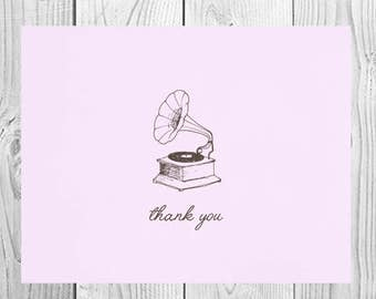 Vintage Record Player Thank You Cards / Printed Stationery Note Cards / Gift for Music Lover / Unique Thank You Cards / Record Player Cards